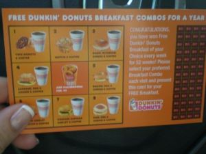 Free Dunkin\' Donuts breakfast for a year
