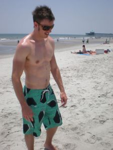 My husband on the beach
