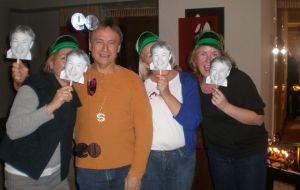 "Wearing ""Larry"" masks at dad's surprise party"