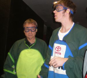 Dad and Tim suiting up for indoor skydiving