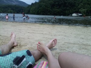 Relaxing on the beach at Lake Lure